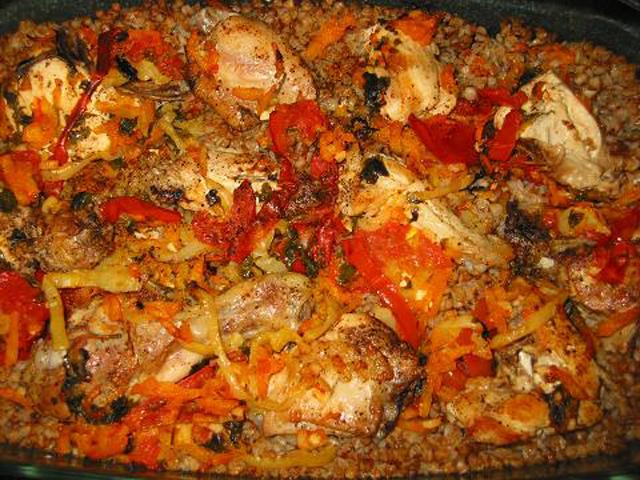 курица с гречкой в духовке рецепт в рукаве с
