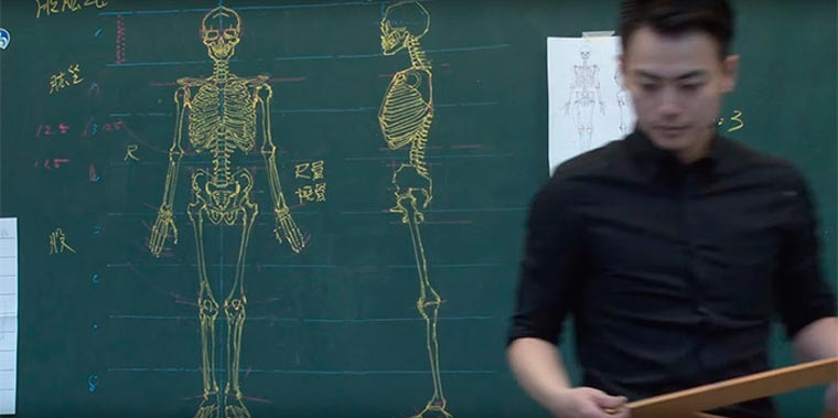 A Taiwanese teacher reveals his talents on the blackboard