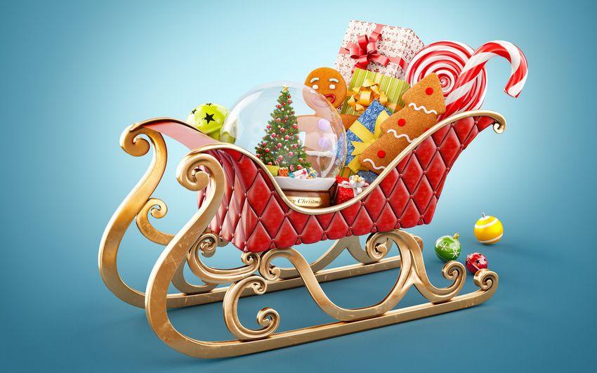 Новый год, подарки, сказка, сказочные сани