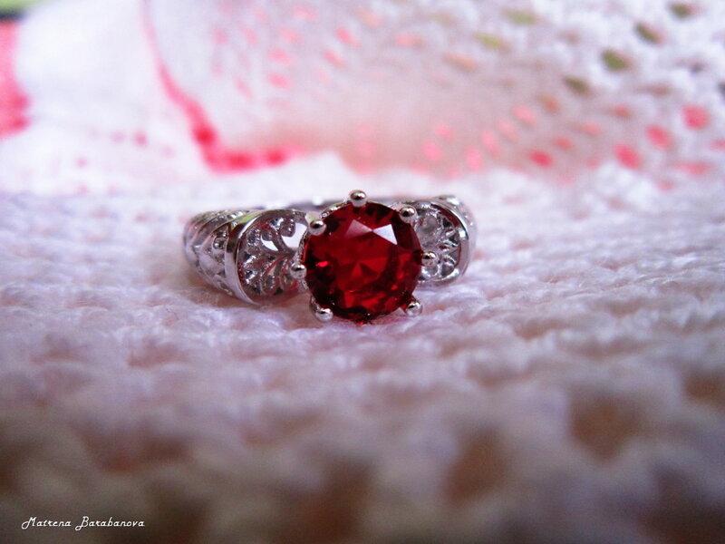 алиэкспресс кольцо серебро красный камень jexxi