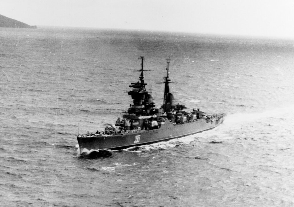 ORDZHONIKIDZE (Soviet Cruiser, 1950-1973) Photographed early in 1961.