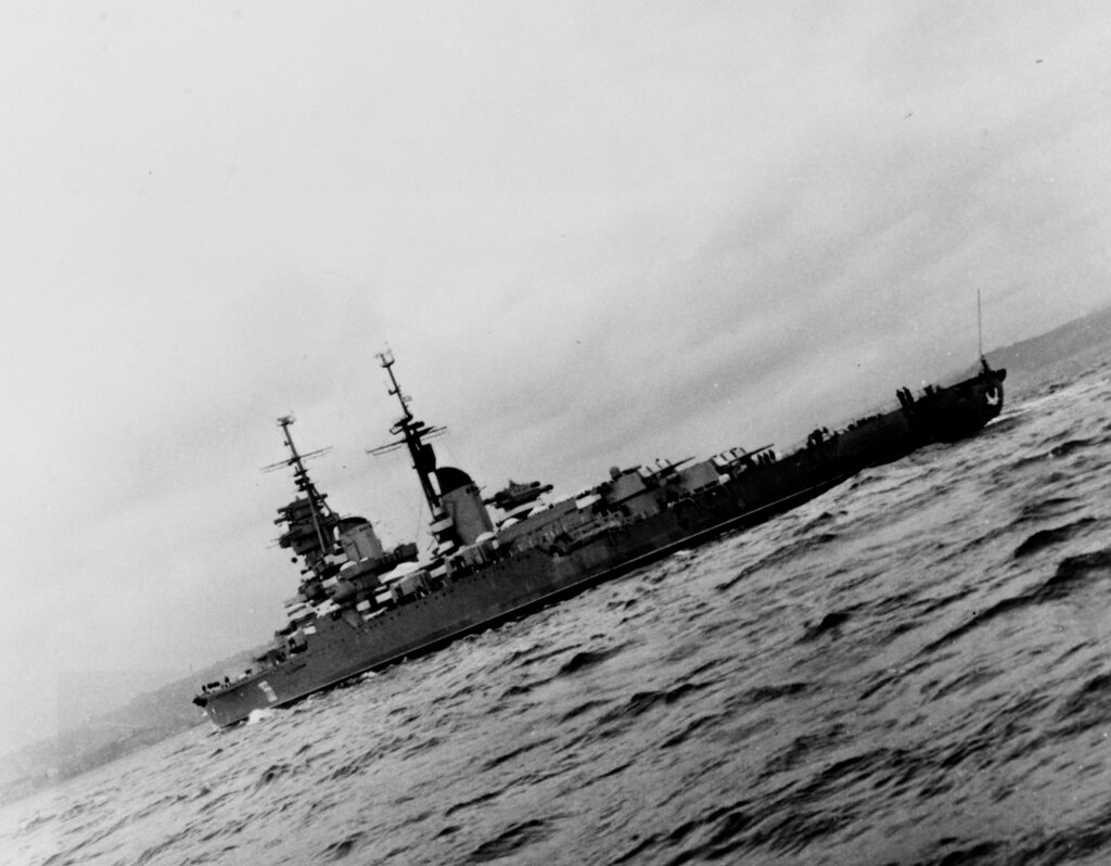 ORDZHONIKIDZE (Soviet Cruiser, 1950-1973) Photographed on 24 January 1961 in the Eastern Mediterranean Sea.