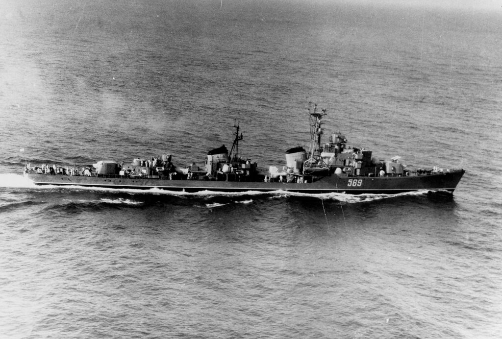 Soviet Black Sea Fleet SKORYY Class Destroyer, photographed on 14 July 1960, south of Greece.