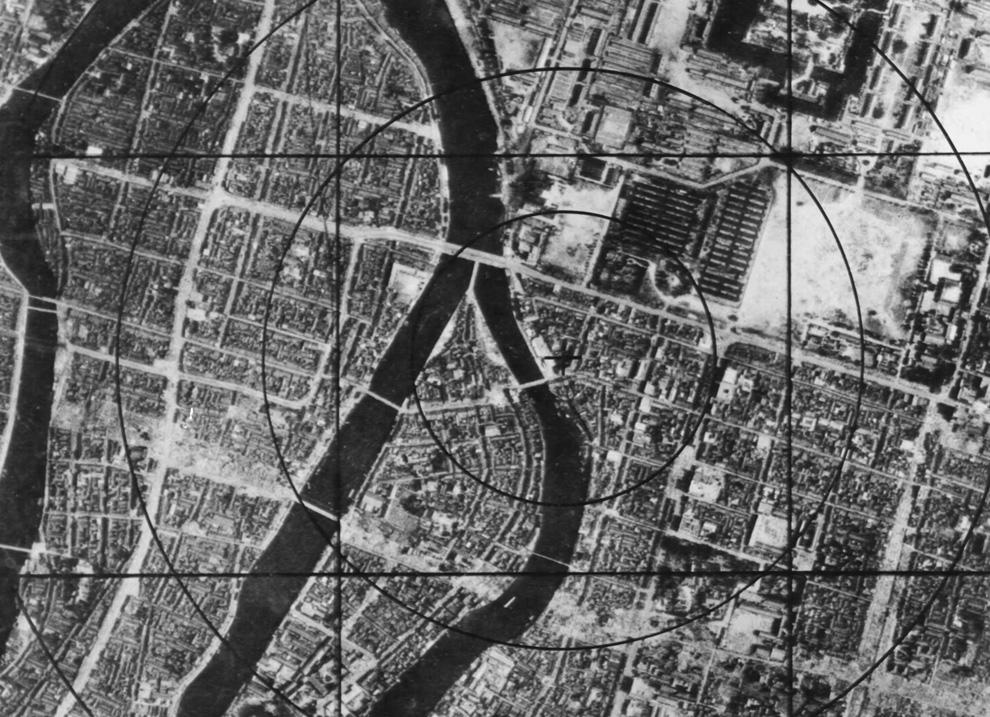 4. Данные военно-воздушных сил США — карта Хиросимы перед бомбардировкой, на которой можно наблюдать