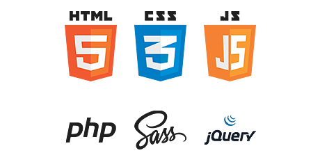 HTML5, CSS3 (SASS), JavaScript (jQuery), php