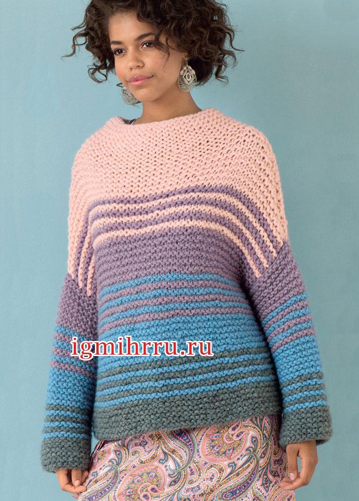 Четырехцветный шерстяной пуловер из толстой пряжи. Вязание спицами
