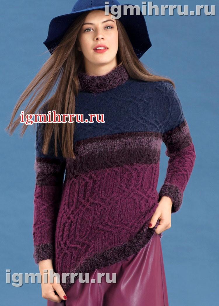 Разноцветный теплый свитер с выразительным узором из кос. Вязание спицами