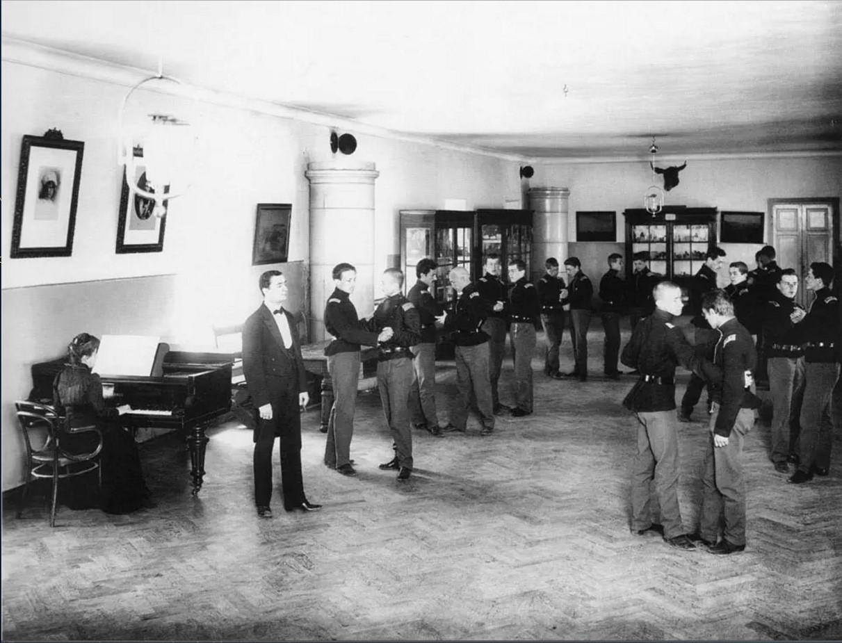 Урок танцев в Сиротском институте императора Николая I