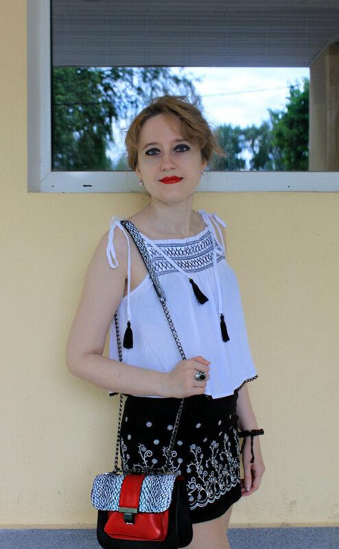 Топ - Forever21, юбка - С&A, сумка - Parfois, балетки - Zara