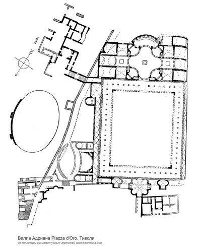Вилла Адриана в Тиволи, Piazza d'Oro, план