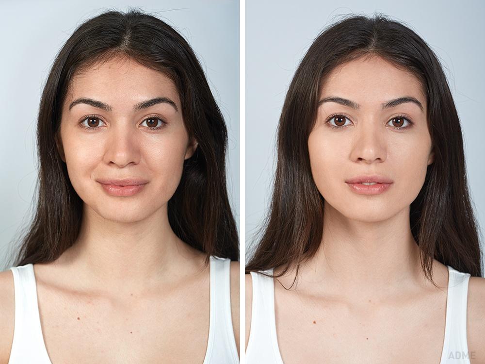 Дешевая косметика (слева), : Тональная основа наносится как крем, текстура очень неплотная, невырав