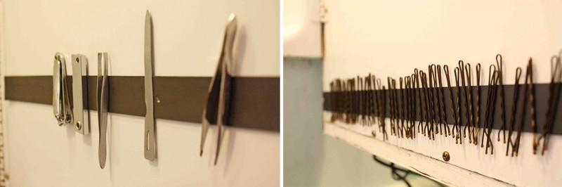 Пинцеты, заколки и прочие мелочи можно хранить на магнитной ленте.