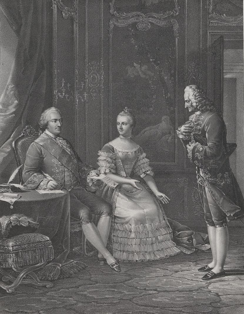 Людовик XV и мадам де Помпадур. Вольтер стоит перед ними, со шляпой в руке.  jpg