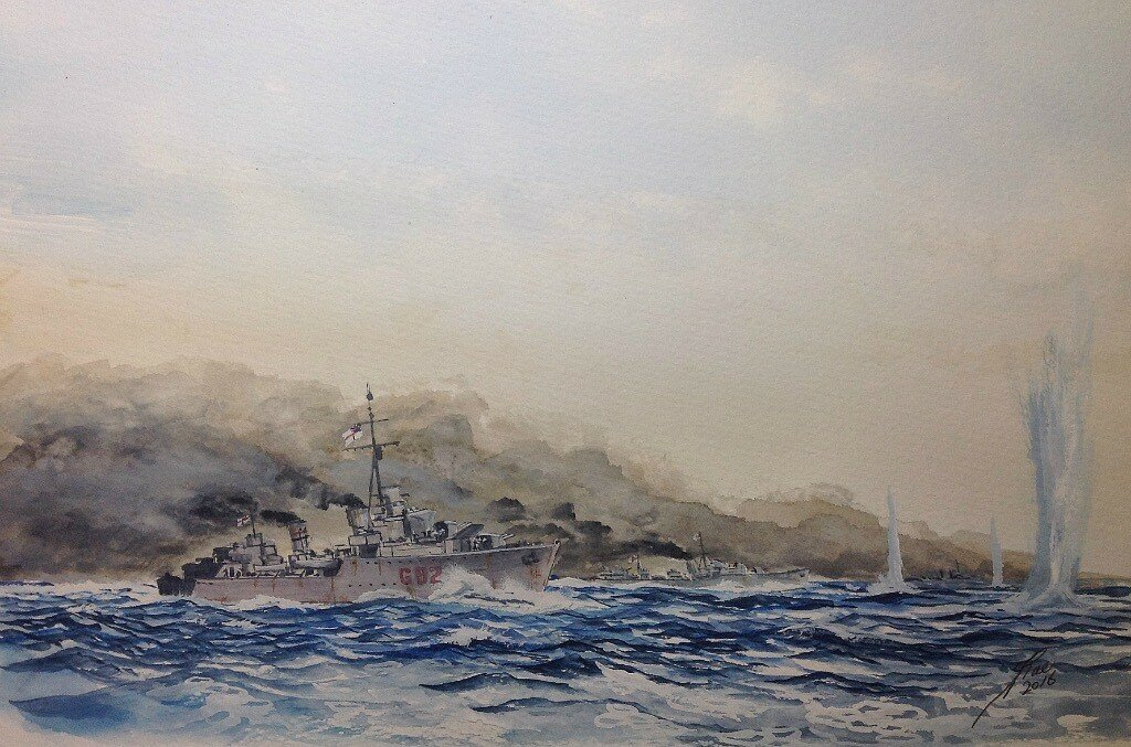 Second Battle of Sirte. HM ships Sikh, Lively, Havock and Hero laying a smoke screen and turn to engage the enemy.