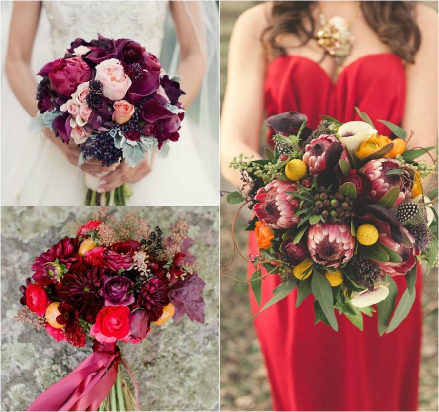 4. Для букета в глубоких цветах подойдут орхидеи, розы, георгины.