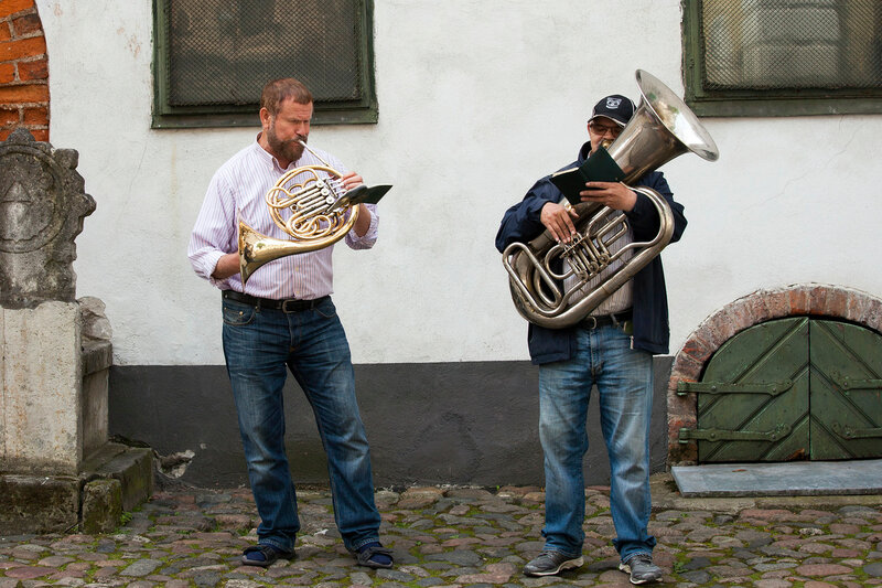 Street musicians in old Riga city, Latvia, Europe