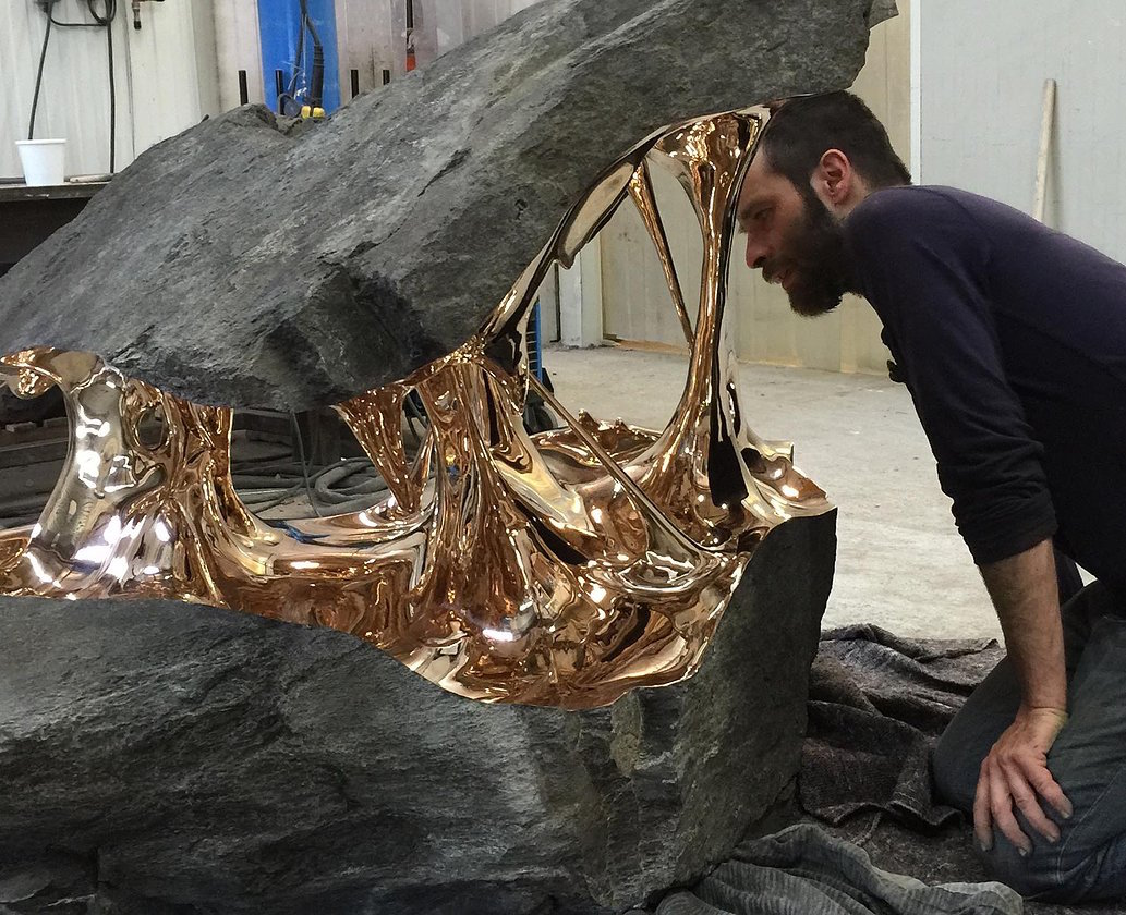 Bisected Boulders With Stretched Bronze Interiors by Romain Langlois (8 pics)