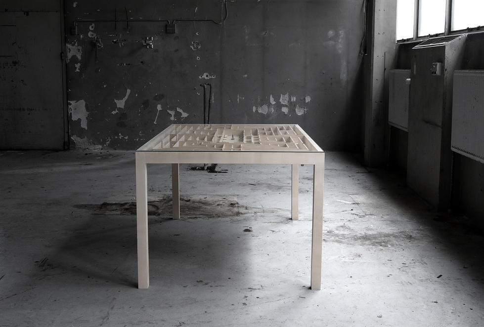 A Wooden Coffee Table Contains a 'Playable' Labyrinth with Moveable Figures