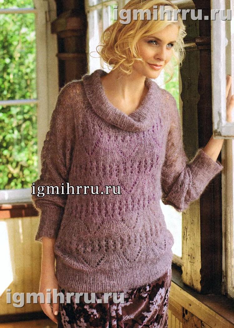 Женственный мохеровый пуловер с ажурным узором. Вязание спицами