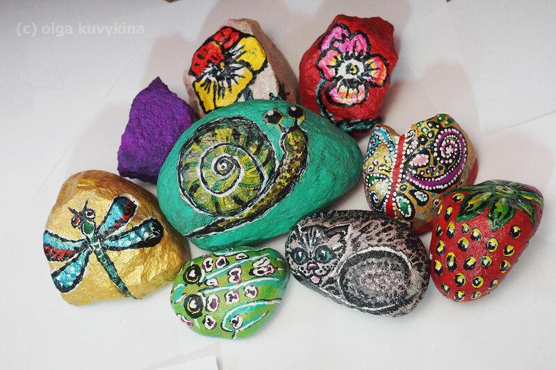 Декор для дачи своими руками -рисунки на камнях