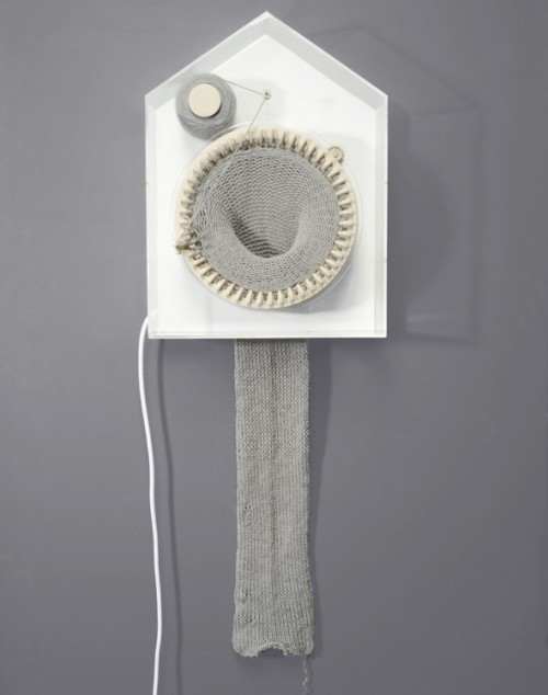 Siren Elise Wilhelmsen has designed a clock that literally knits time. Every passing of a half hour