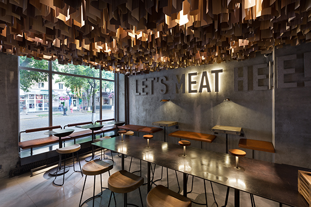 Shade Burger restaurant by  YOD Studio of commercial design is located in Poltava, Ukraine. Providin
