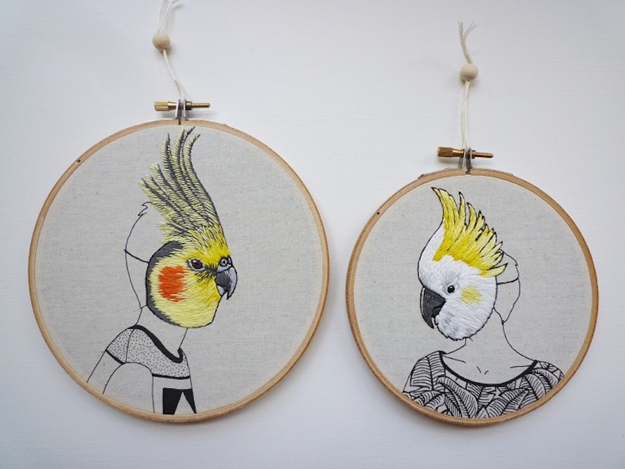 Embroidered Portraits of People Wearing Birds Masks