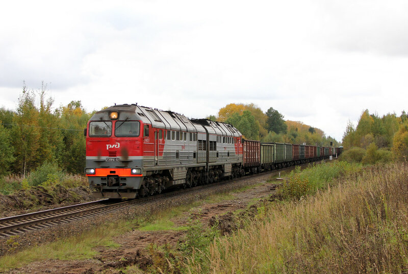 2ТЭ116УД-012 на перегоне Шишково - Бежецк