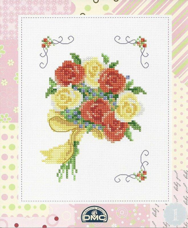 Вышивка крестом открытки с цветами, открытка внутри