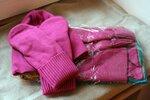 Комплект шапка + варежки = 800 рублей; шапка + варежки + шарф = 1500 рублей