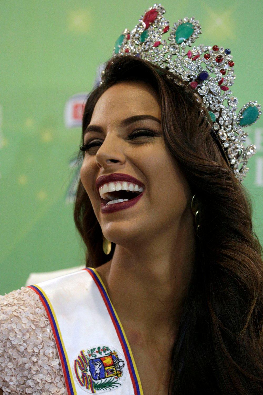 Miss Venezuela 2016 Keysi Sayago smiles during a news conference in Caracas