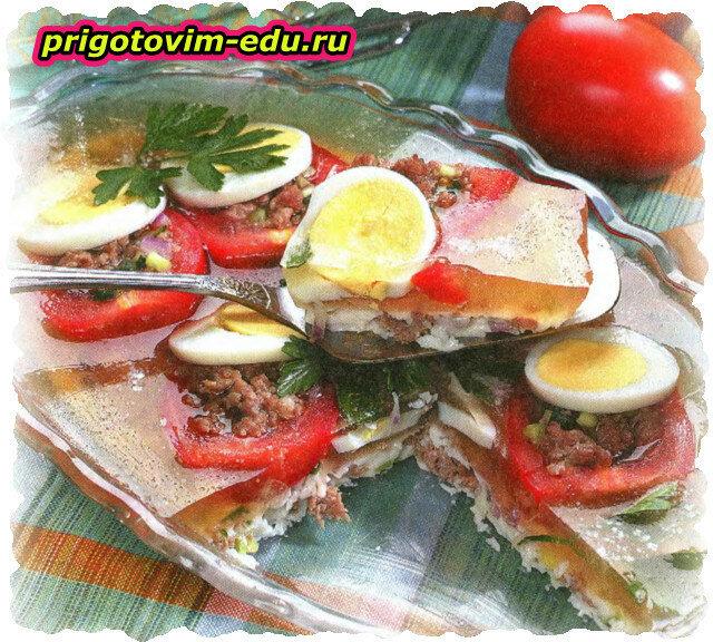 Помидоры с начинкой из мяса в желе
