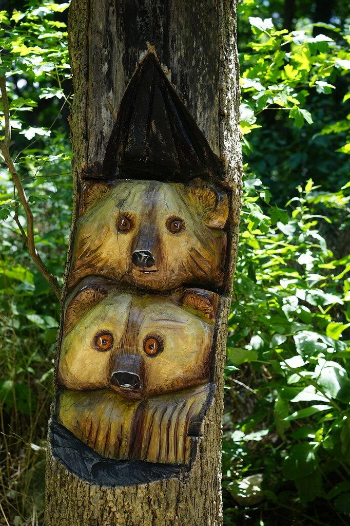Медведи, вырезанные в дереве. Верхний уровень Сафари-парк, Геленджик