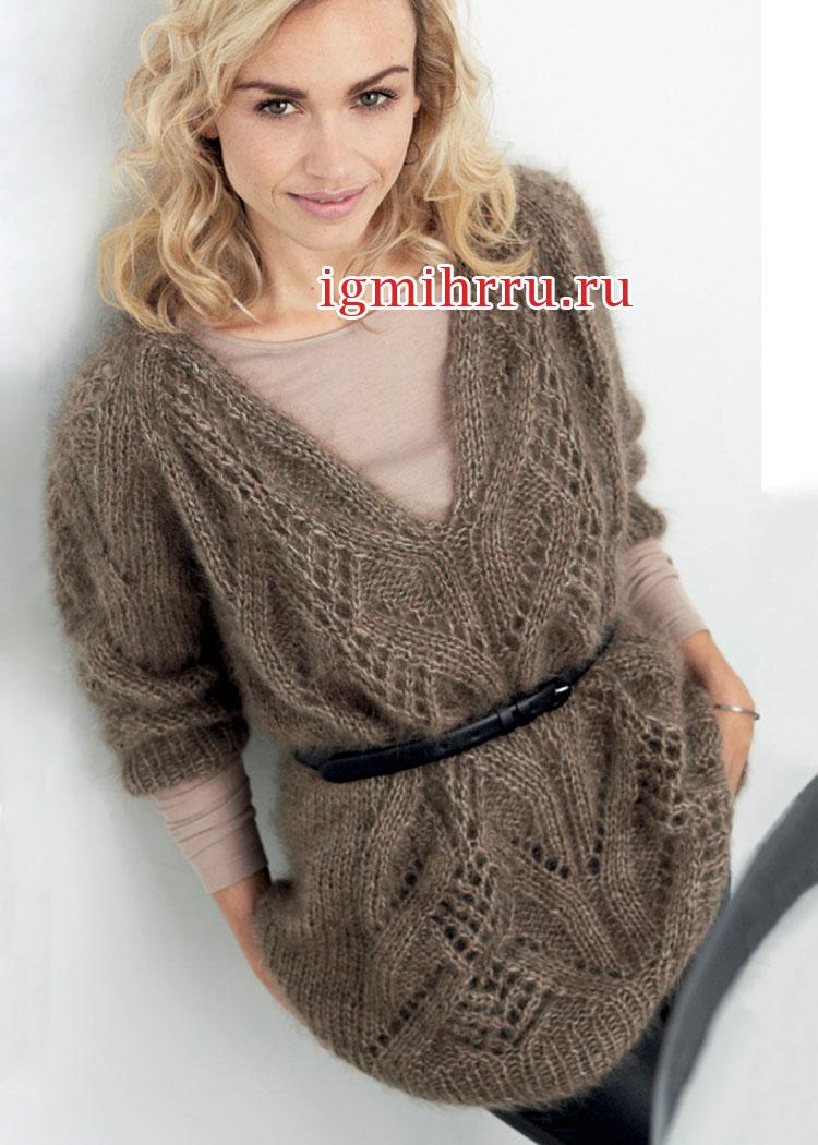 Серо-коричневый мохеровый пуловер с ажурными узорами. Вязание спицами