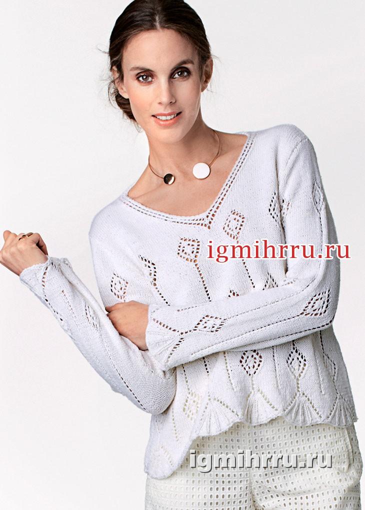 Белый пуловер с ажурными ромбами и треугольными мотивами. Вязание спицами