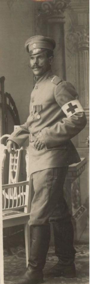 Портрет Николая Николаевича Спиридонова, участника Первой мировой войны, санитара 33-его военно-полевого госпиталя при Первой Действующей армии