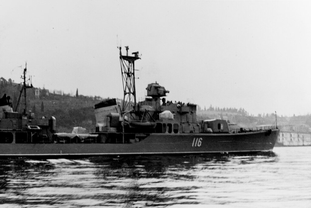Soviet SKORYY Class Destroyer, photographed during late 1961 in the Eastern Mediterranean Area.