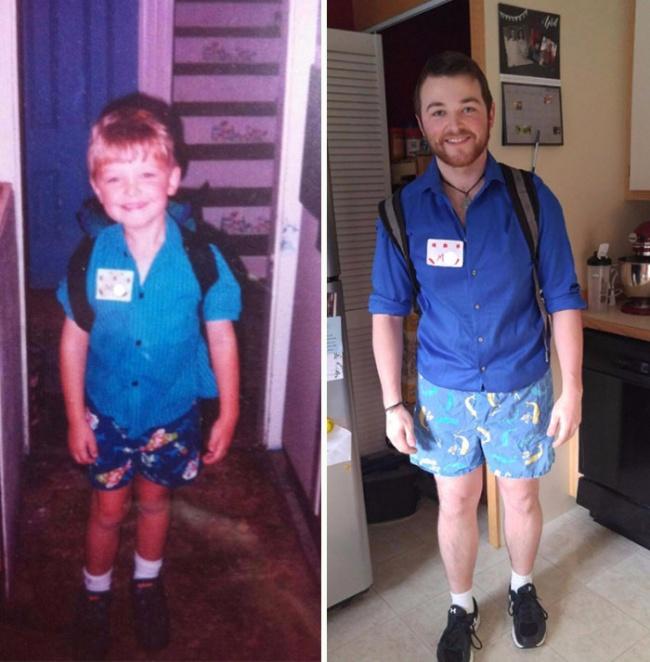 © randomrocker  Этот американский подросток фотографировался перед каждым новым учебным годом