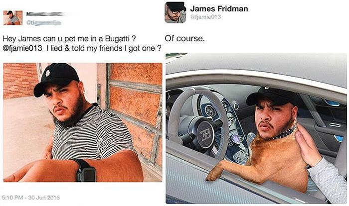 «Помести меня в Bugatti. А то я соврал друзьям, что у меня есть эта машина». В просьбе была допущена