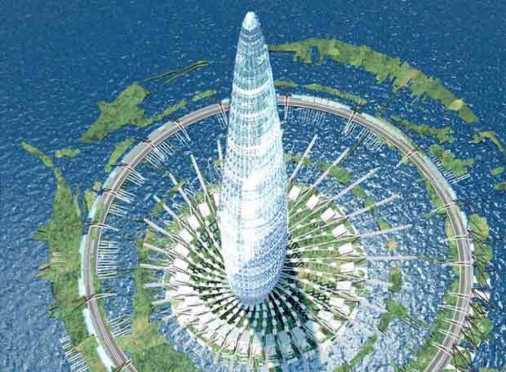 Через 15лет вКитае построят город-башню, где будут жить 100000человек. Уникальное сооружение, со