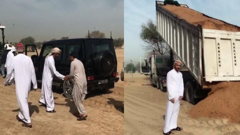 Наследный принц Дубаи помог вытянуть застрявший впесках фургон