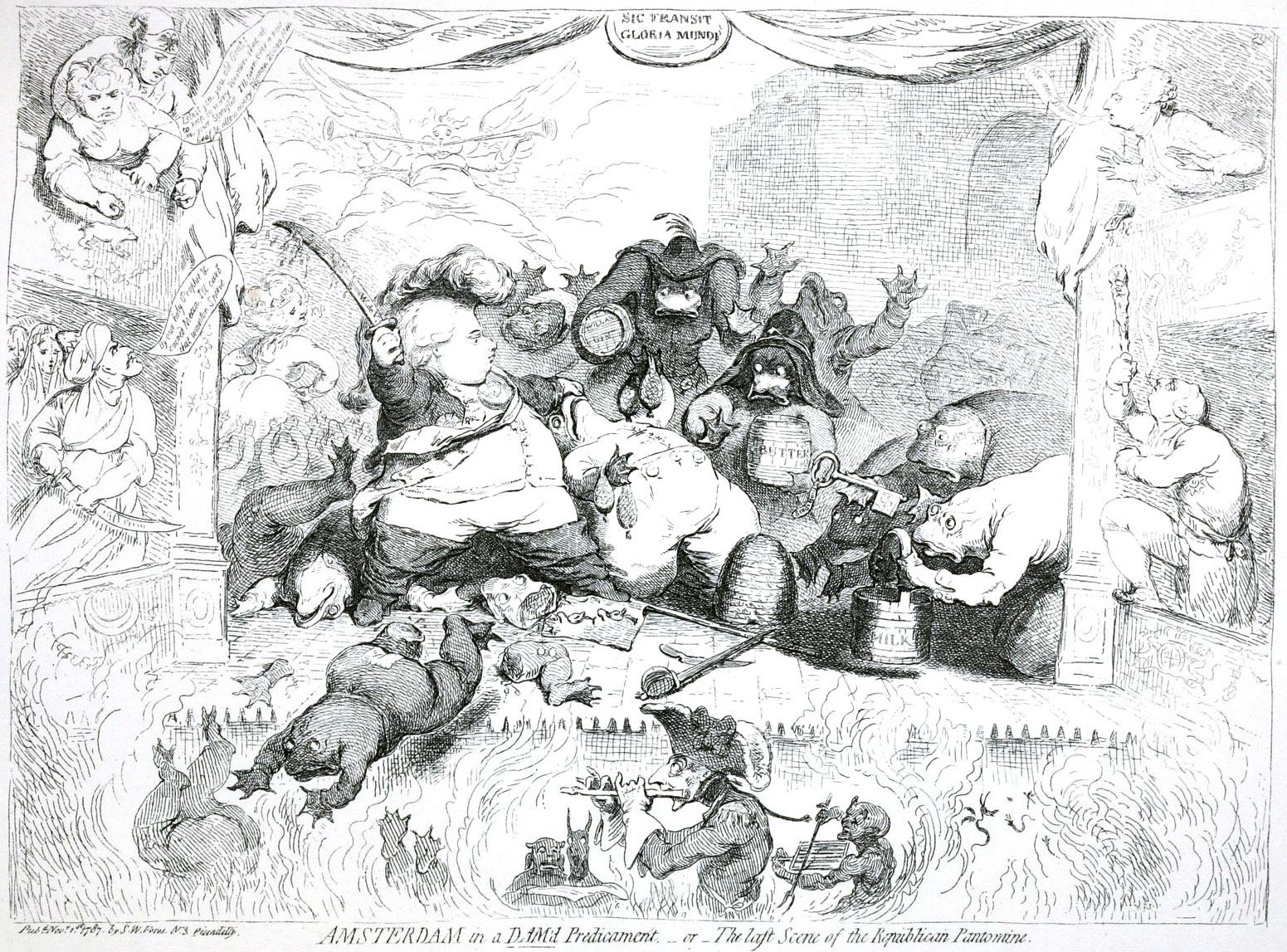 351. Карикатура на усмирение восстания в Амстердаме в 1787 году.
