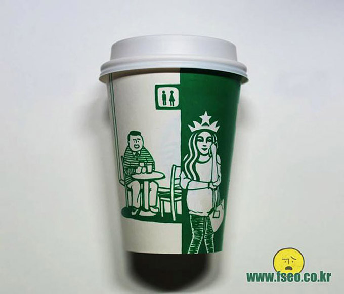 Starbucks cup art por Soo Min Kim