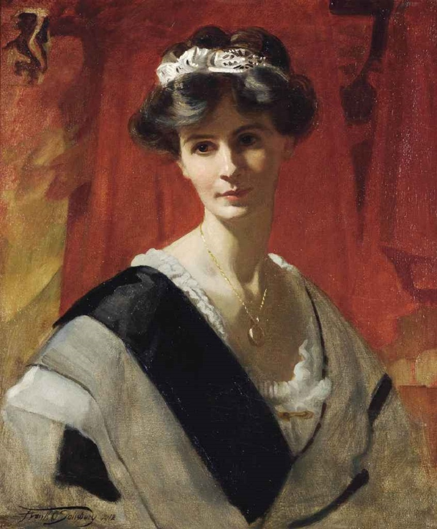 Portrait of Mrs Florence Cox, née Lane, half-length, in a white dress with a black sash, 1912.Jpeg