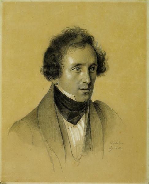 Феликс Мендельсон (1809-1847) 1834, рисунок,Фридрих Вильгельм фон Шадов(1788 — 1862)