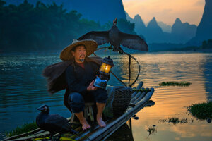 Портрет рыбака с бакланами