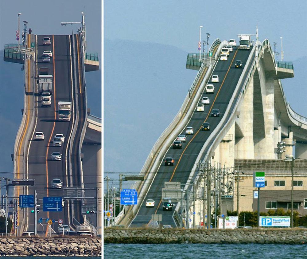Это не американские горки, а сумасшедший мост в Японии! (4 фото)