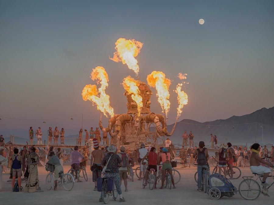 7. В августе все любители музыки направляются в отдаленную пустыню Блэк-Рок в Неваде, где проходит ф