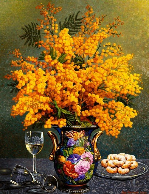 Ian Hornak American Mimosa in a Sevres Vase. 2000 г..jpg