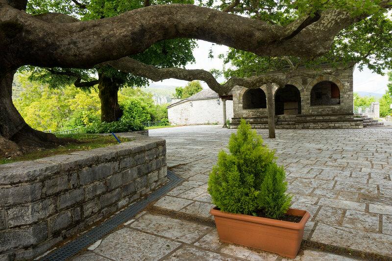 большой платан и источник на площади в деревне Вица (Vitsa), Загория, Греция
